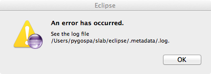 Eclipse Fehlermeldung: An error has occured. Se the log file <WORKSPACE>/.metadata/.log